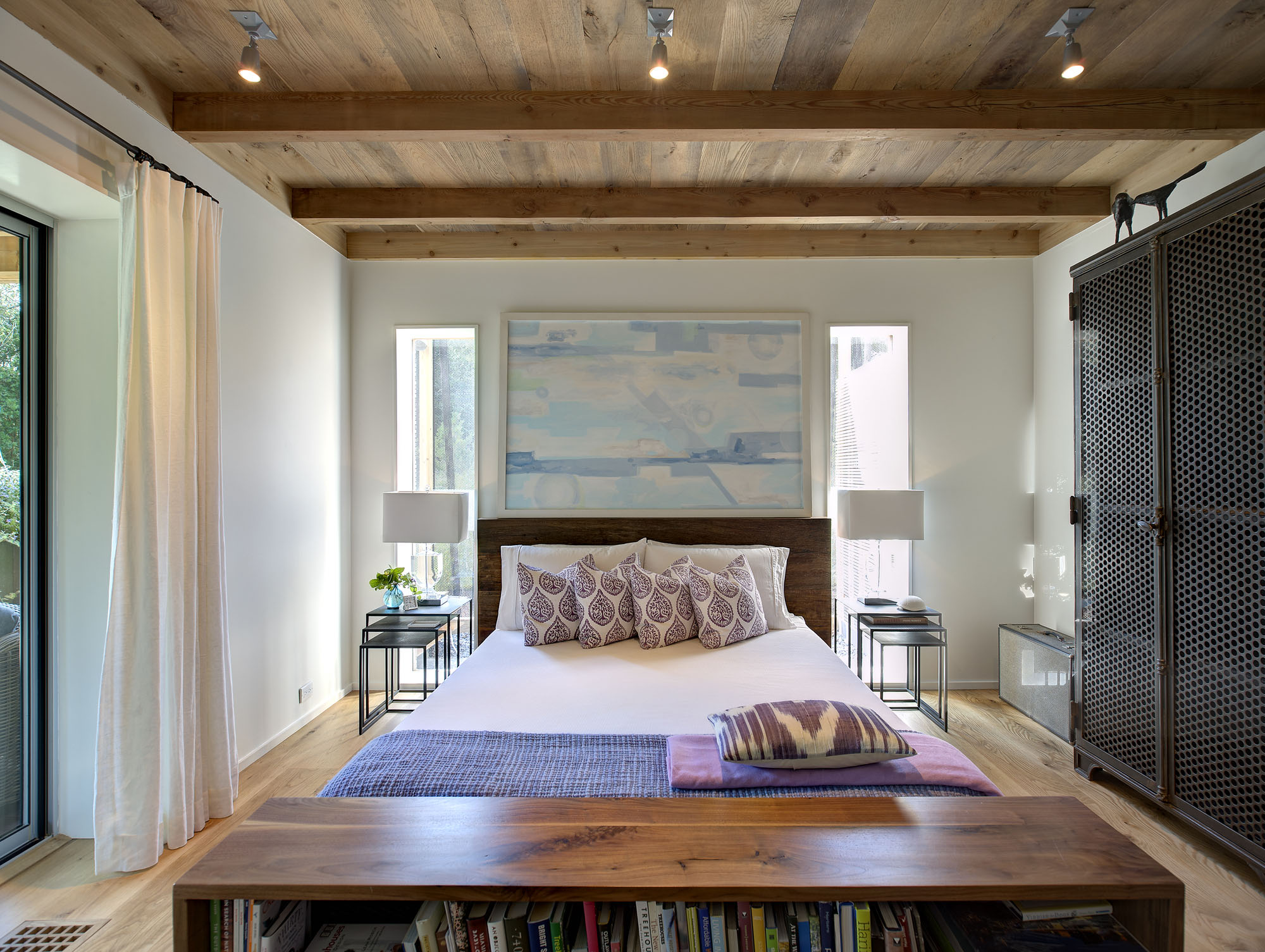 Modern Bedroom with Wood Ceiling