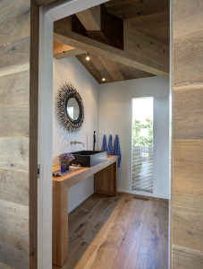 Modern Bathroom with Wood Floors