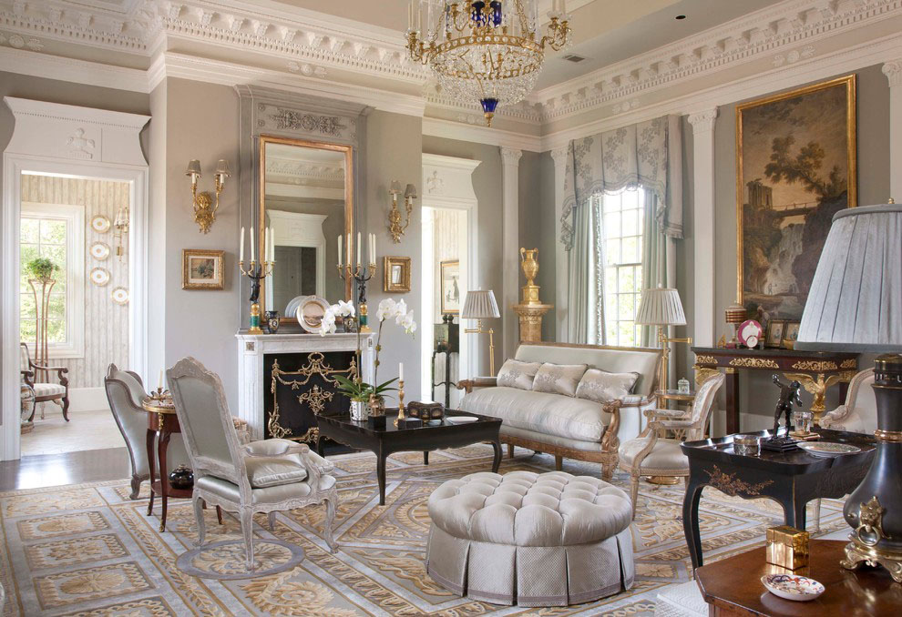 Ornate Living Room Design with Classical Elements