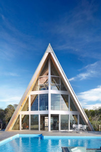 A-Frame Beachfront Home with Swimming Pool
