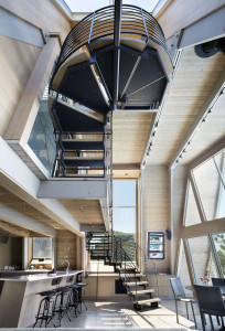 Interior of Modern Beach House with Open Staircase