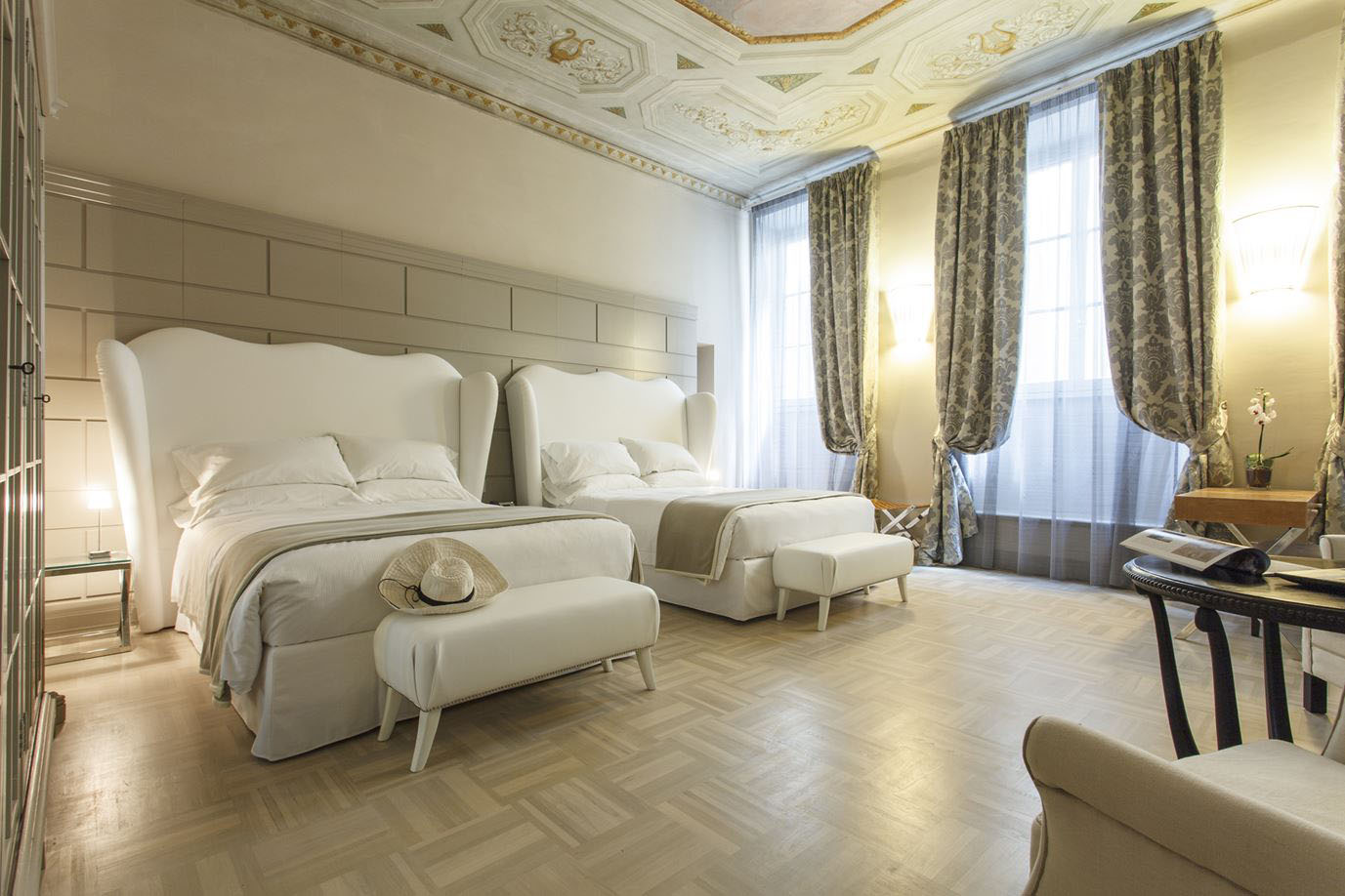 Contemporary Bedroom with Mezzo Fresco Painted Ceiling