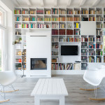 Minimalist House With A Long Wall Of Books