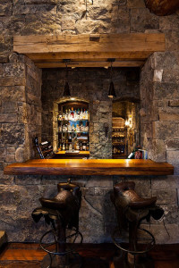 Natural Stone Bar with Wood Counter