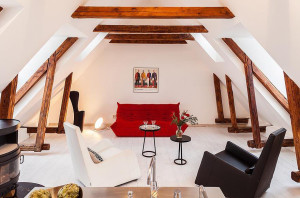 Duplex Apartment with Exposed Wood Beams