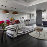 Stylish Duplex Apartment With Multi-Layer Color Highlights