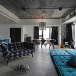 City Apartment Effective Use Of Blue Against Concrete And Greyish Backdrop