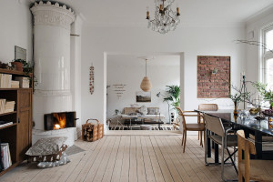 Modern Apartment with rustic wooden floor and fireplace