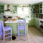 Pale Green Kitchen Design With Lavender Highlight