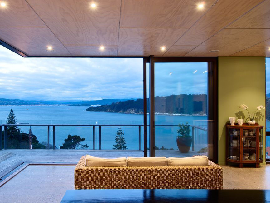 Modern Living Room with Ocean View in New Zealand