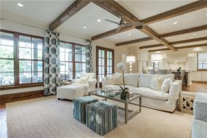 Contemporary Interior Design with Ceiling Wood Beams
