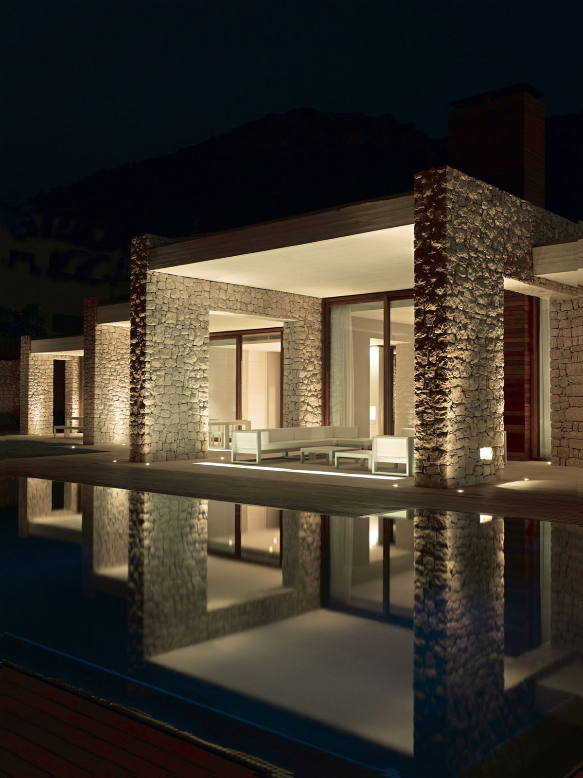 Minimalist Stone House In Monasterios With Open Courtyards