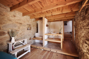 Rustic Stone House with Pine Wood Ceiling