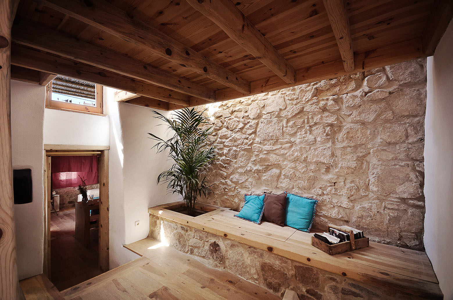 Stone Wall and Wood Decor