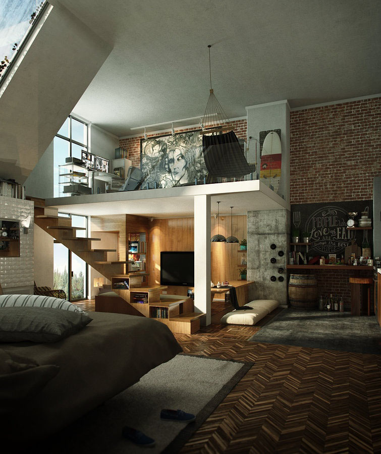 Loft House Design: Compact Loft Apartment With High Ceiling Creates Extra