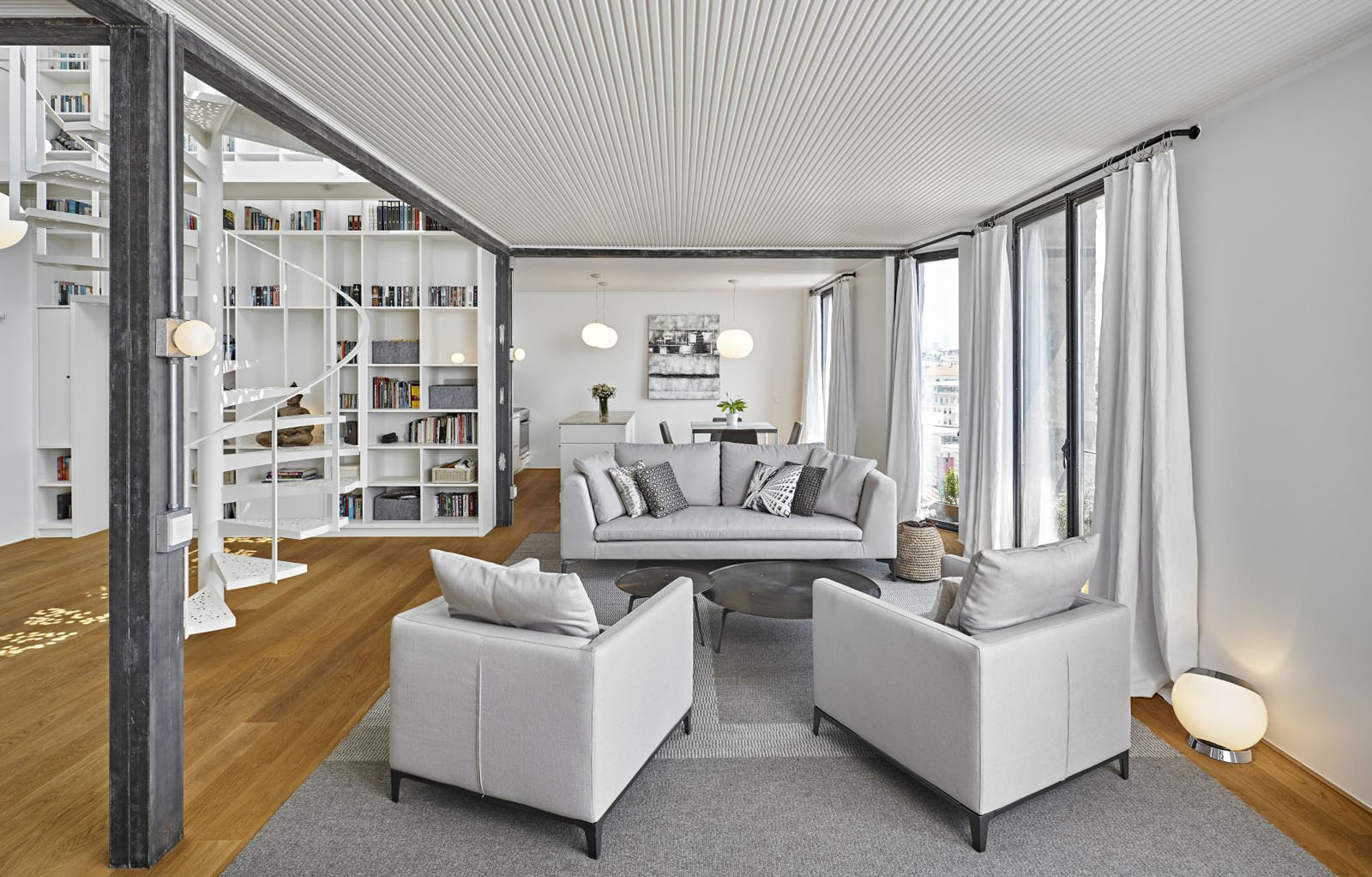 Bright modern penthouse with rooftop terrace and view of bosphorus