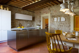 Gourmet Kitchen With Stone Walls