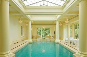 Luxury Home Indoor Swimming Pool with Classical Columns