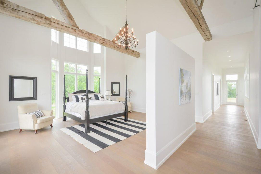 Justin Bieber Canadian Home Bedroom with Vaulted Ceiling and Wood Beams