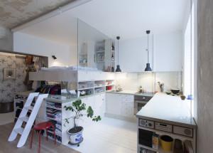 Micro Studio Apartment Bedroom Loft with Glass Wall