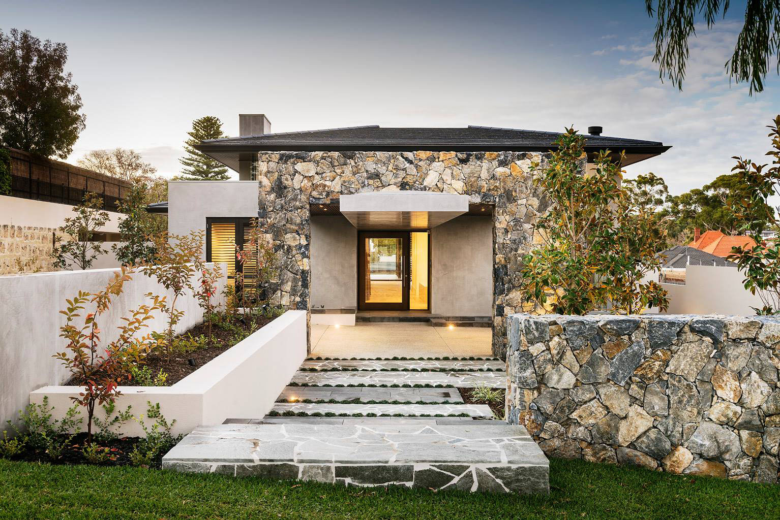 Modern Home Design with Stone Facade