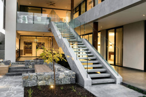 Contemporary Luxury Home Courtyard