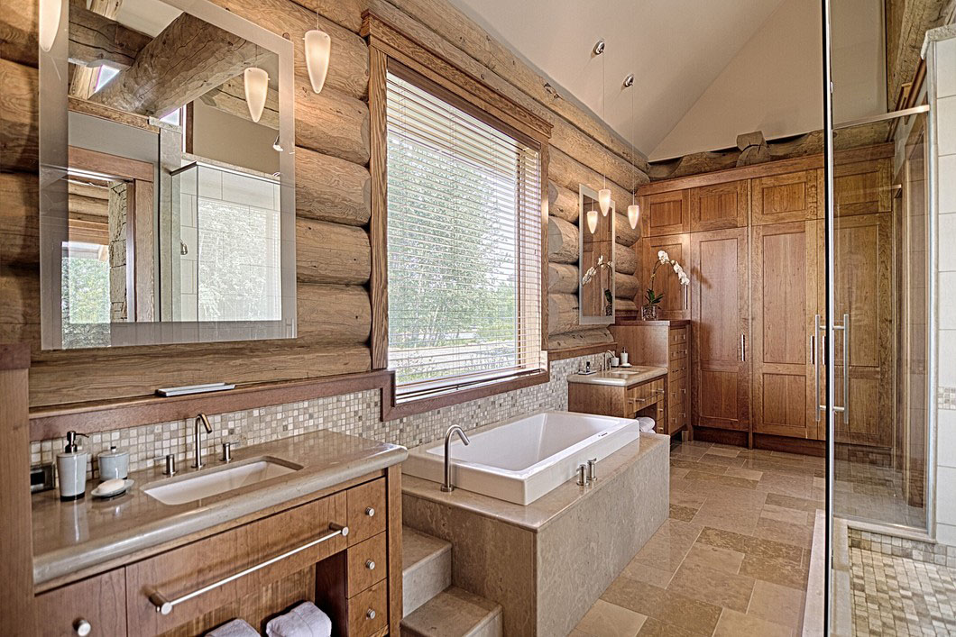 Rustic Log Home Bathroom