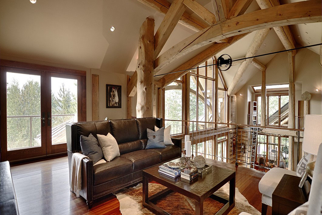 Country House with Log Beams