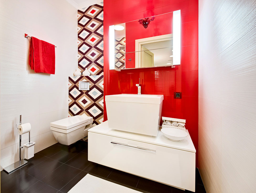 Red Modern Bathroom Design