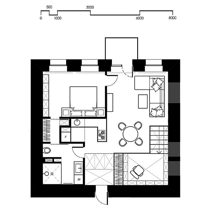 Small Square Apartment Floor Plan