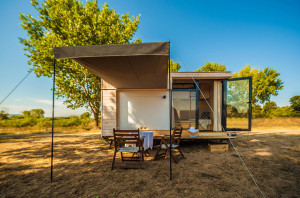 Cozy Mobile Vacation Cabin with Canopy