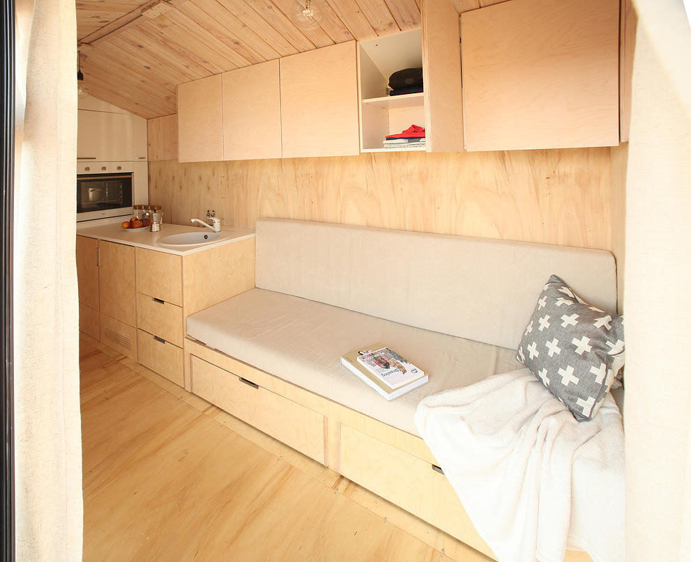 Tiny House Interior made of plywood