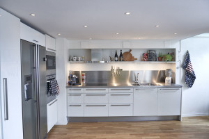 White and Stainless Steel Modern Apartment Kitchen
