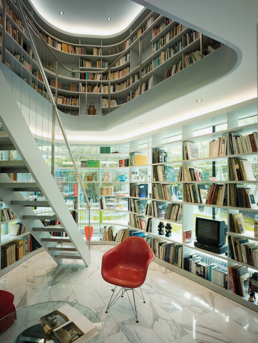 Home Library Decorating Ideas: Minimalist House With Open Library