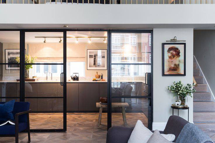 Kitchen with Crittall doors