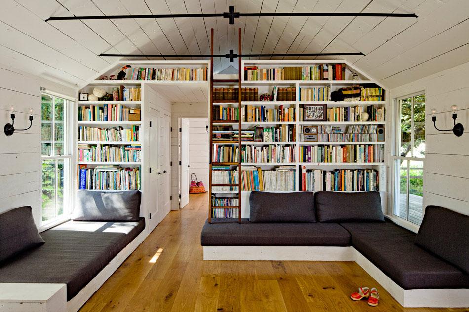 Comfortable Small House Living Room with Sleeping Loft