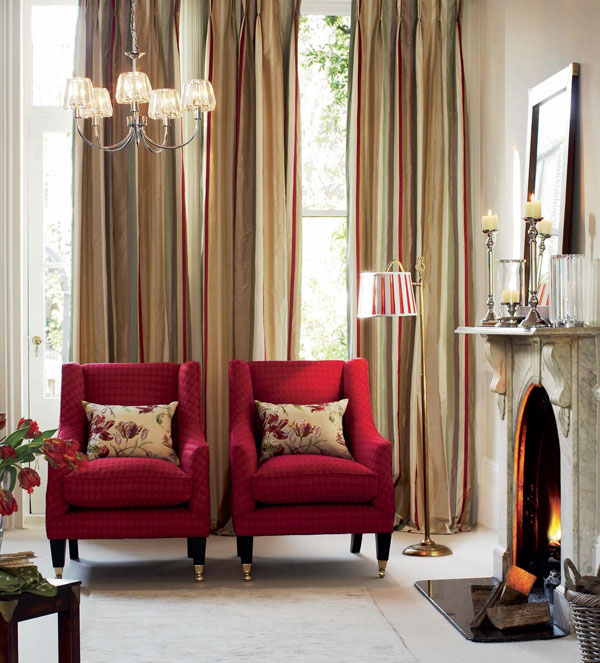 Colonial Home Design Ideas: Red Living Room Design Ideas