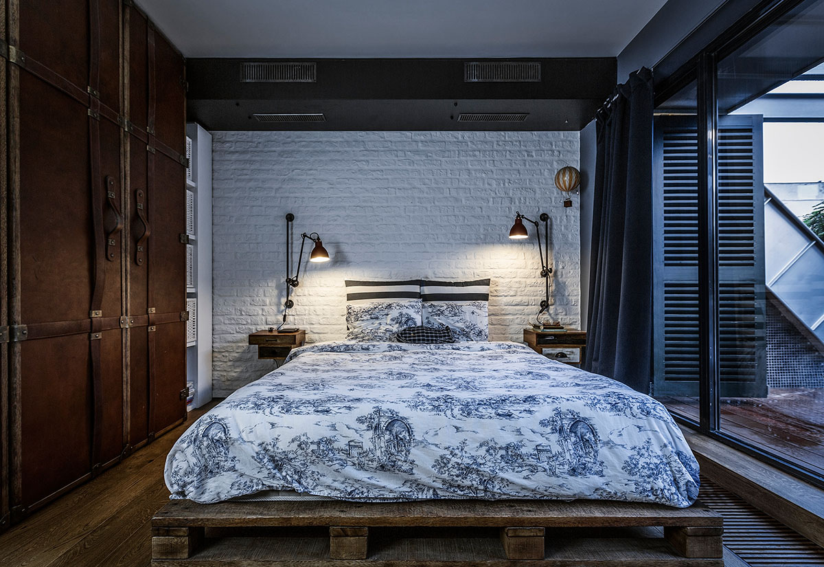 Bedroom with White Brick Wall