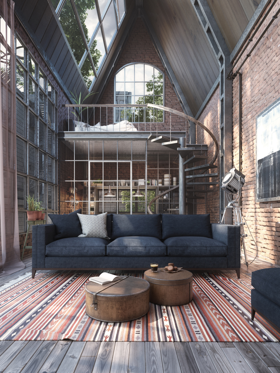 Loft Studio With Spiral Staircase Idesignarch Interior