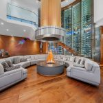 Spectacular Luxury Home with Curved Glass Wine Wall and Indoor Fire Pit
