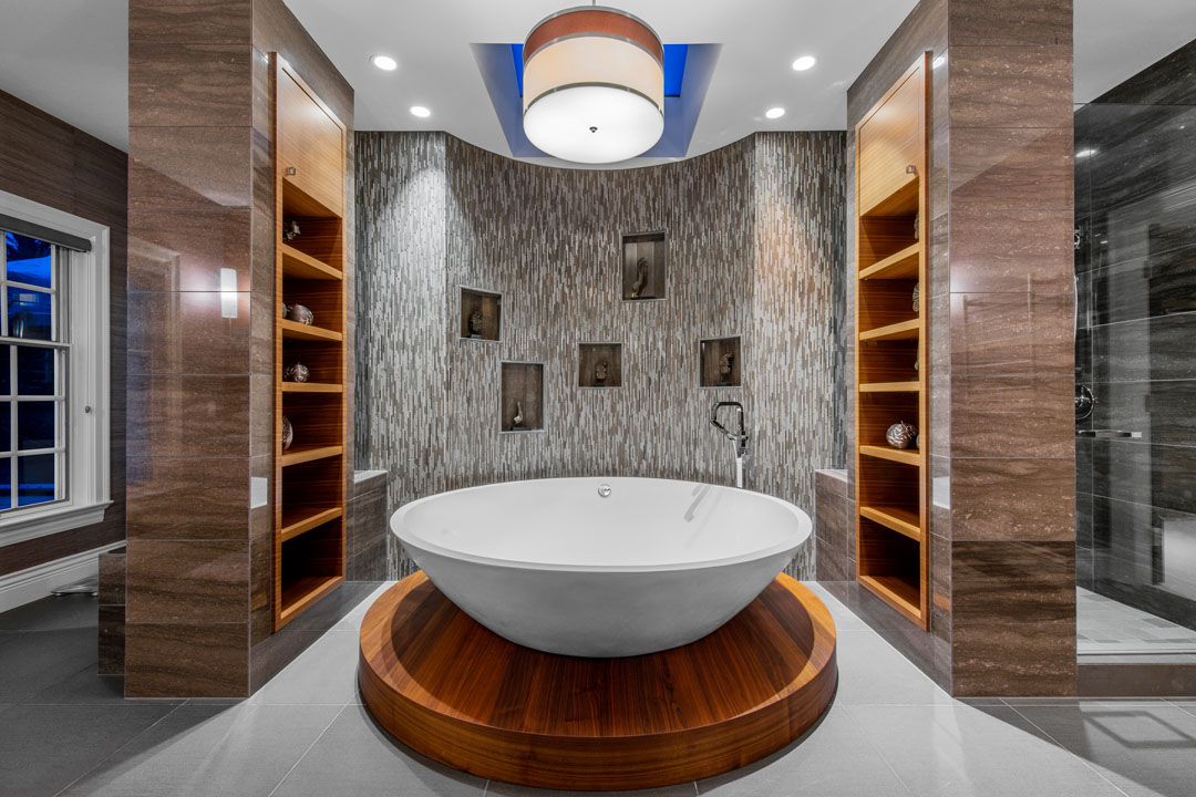 Luxury Master Bathroom with Round Bathtub