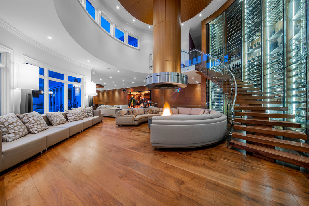 Spectacular Luxury Home With Curved Glass Wine Wall And Indoor Fire Pit Idesignarch Interior Design Architecture Interior Decorating Emagazine