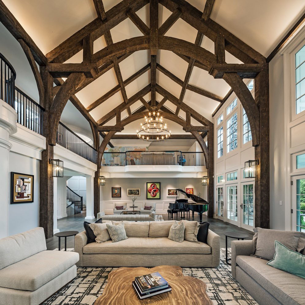 Grand Estate Great Hall With Reclaimed Douglas Fir Timber Frame Roof Beams Idesignarch Interior Design Architecture Interior Decorating Emagazine