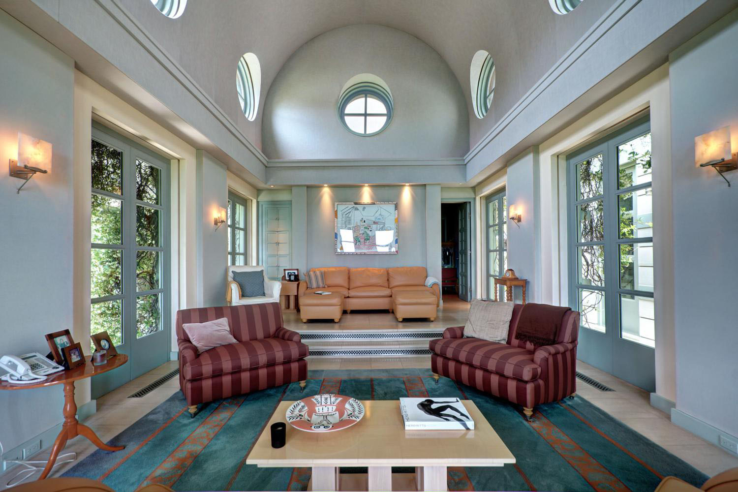 barrel vaulted living room