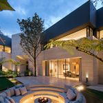 Contemporary Urban Retreat in Mexico City with Sunken Front Yard Fire Pit
