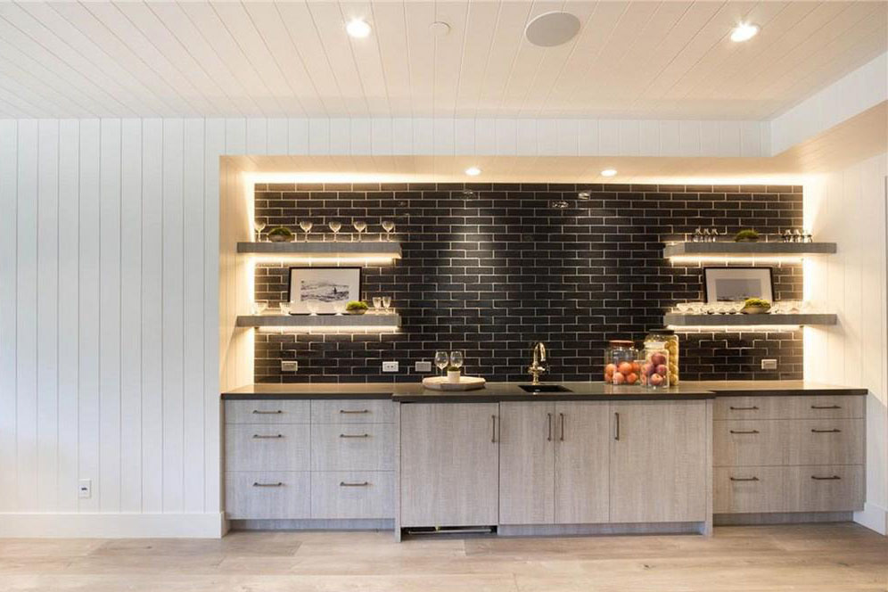 Modern Basement Bar Kitchen