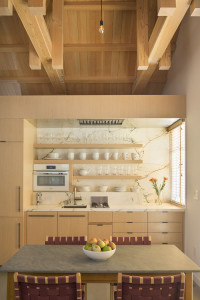 Small Kitchen Unit with Modern Wood Cabinet and Marble countertop