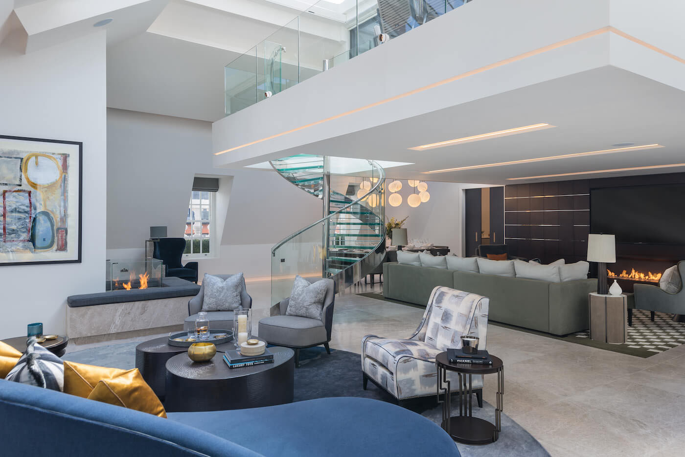 Elegant Contemporary Mayfair Penthouse With Sleek Glass Spiral Staircase Idesignarch