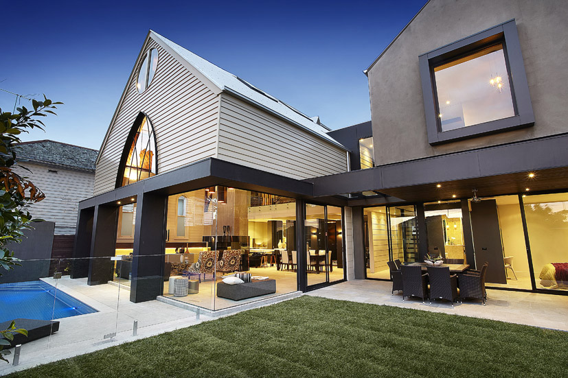 Church Conversion with Modern Backyard Swimming Pool