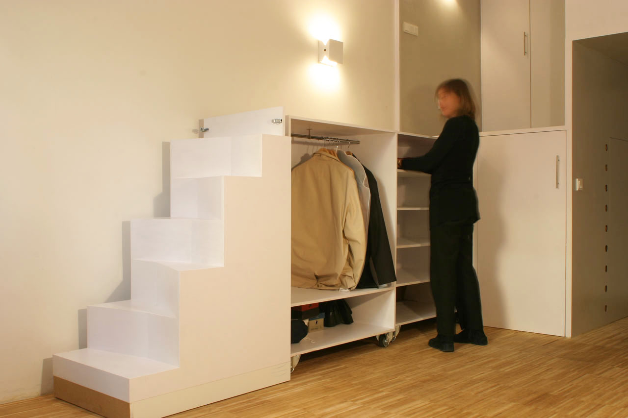 Storage Under Movable Staircase